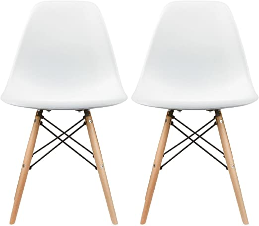 2xhome Set of Two (2) - Plastic Side Chair Natural Wood Legs Eiffel Dining  Room Chair - Lounge Chair No Arm Arms Armless Less Chairs Seats Wood Leg ...
