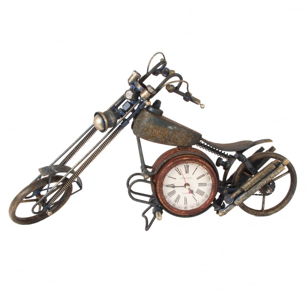 MPH Very Large Metal Art Vintage Chopper Motorbike Quartz Clock