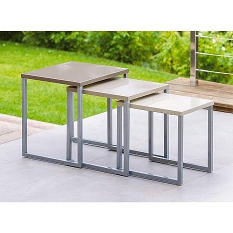 Lot de 3 tables basses gigognes - Utilisation intérieure et extérieure -  Coloris TAUPE