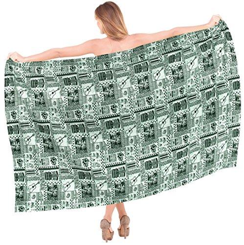 La leela 100% de las mujeres del abrigo del algodón de la guitarra anthemion nadan pareo 88x44 pulgadas pareo Verde
