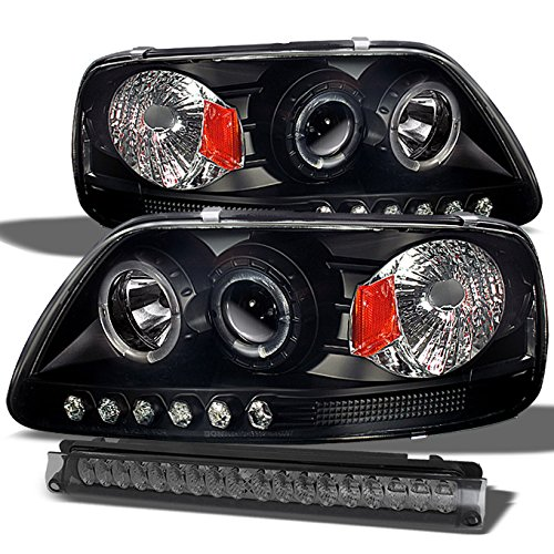 Ford 97-03 04 F150 F250 Black Dual Halo Projector LED Headlights + Smoked LED 3Rd Brake Lamp Lights