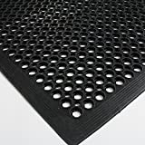 FCH Rubber Floor Mat, 36x60 inch Anti-Fatigue Drainage Mat, for Wet Areas, Non-slip Bar Kitchen Industrial Rubber Cushion, Bathtub Bathroom Bath Mat (Black)