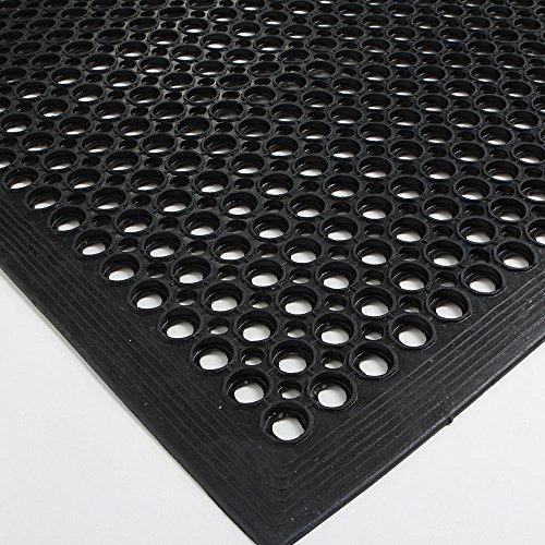 , 36x60 inch Anti-Fatigue Drainage Mat, for Wet Areas, Non-slip Bar Kitchen Industrial Rubber Cushion, Bathtub Bathroom Bath Mat (Black) (Drainage Mat Grease)