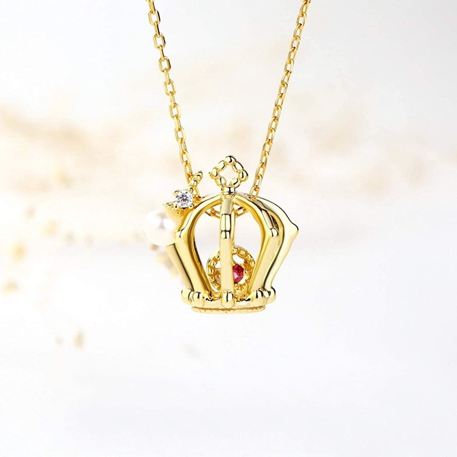 Epinki 925 Sterling Silver Necklace for Women Girls Gold Tourmaline Crown Pendant Necklace