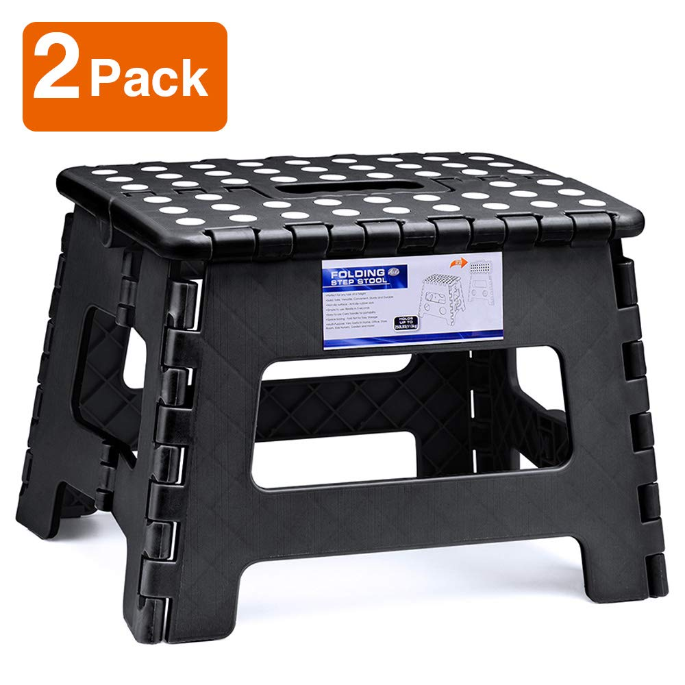 Acko Folding Step Stool Lightweight Plastic Step Stool (2 Pack 9 inch) Foldable Step Stool for Kids and Adults,Non Slip Folding Stools for Kitchen Bathroom Bedroom Black