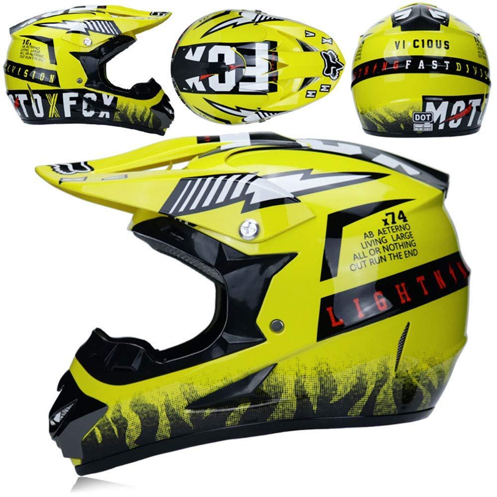 T Standard Enfants Quad Bike ATV Go Karting Casque,A,S O YIBEN Moto Casques de Motocross /& Gants /& Goggles D