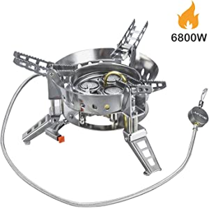 Bulin 6800W Camping Gas Stove Burner, Windproof Backpacking Hiking Stove, Portable Lightweight Outdoor Folding Propane Camp Stove with Piezo Ignition, Adjustable Burner, Heavy Duty, Stainless Steel