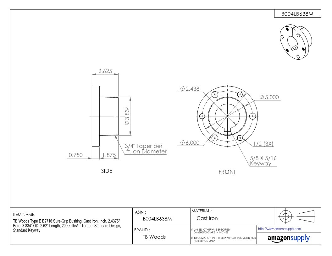 3.834 OD 2.4375 Bore 2.62 Length TB Woods Type E E2716 Sure-Grip Bushing 20000 lbs//in Torque Inch Cast Iron Standard Design Standard Keyway