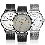 BUREI Unisex Silver Thin Minimalist Wrist Dress Watches with Large Face Calendar Mineral Glass Mesh Band