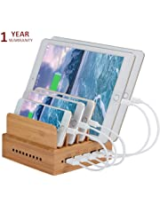 Yisen Handy Wood Bamboo Multi Device Smartphone Charging Station 5-Port USB Charging Dock for for iPhone, iPad, Universal Cell Phones, Tablets and Other USB-Charged Devices (with UK plug power cord)