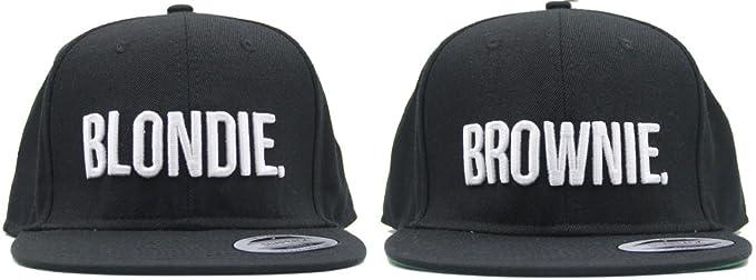 """Par de gorras con visera, diseño de logotipos bordados """"Blondie"""""""