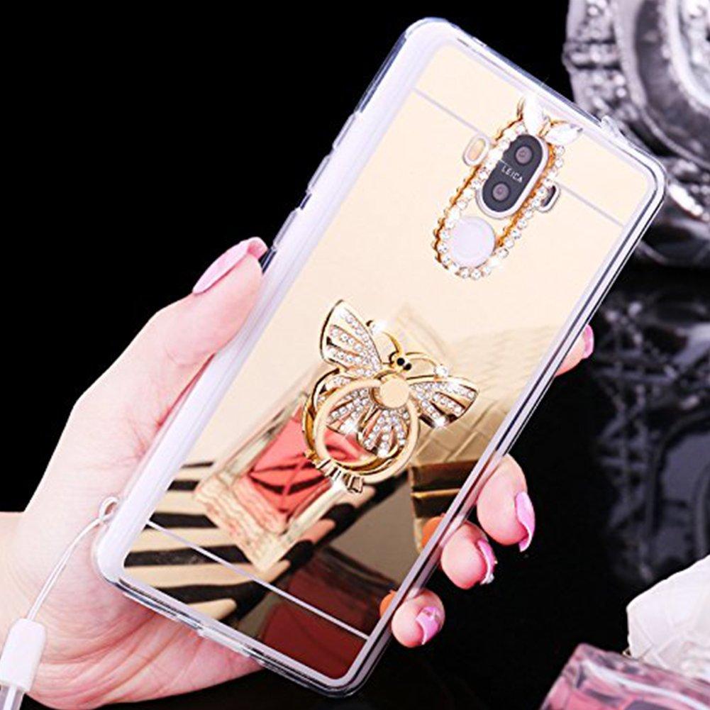 Huawei Mate 9 Mó vil Huawei Mate 9 Espejo Mó vil Mirror Case ukayfe [funda soporte anillo Holder fingerhalterung Soporte mó vil] TPU Telé fono Mó vil Huawei Mate 9 Gold Plating silicona Carcasa Lujo Bril