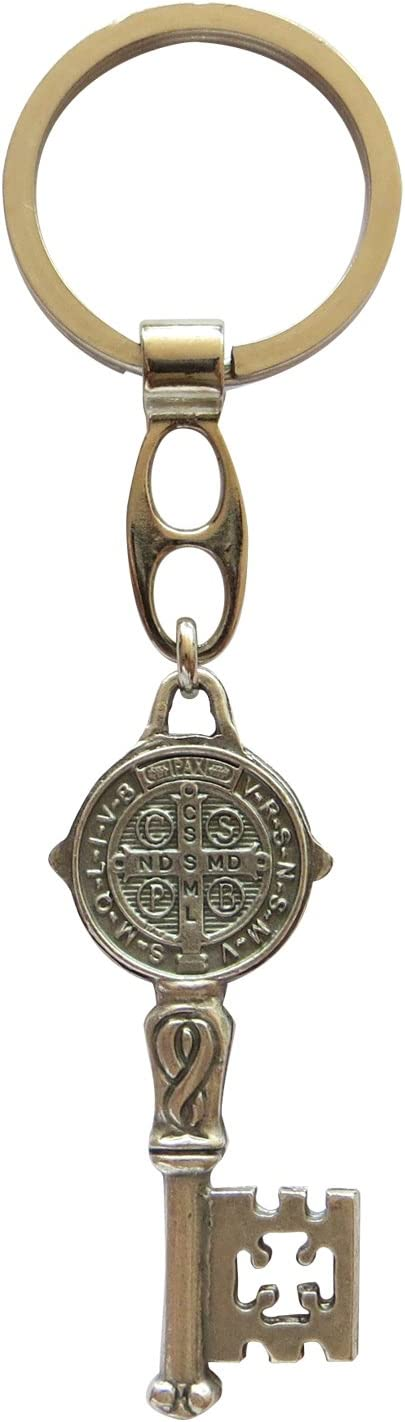 Angelitos de Mexico Saint Benedict Keychain with Attached Key-Medal