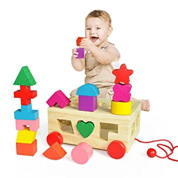 Amazoncom Baby 15 Shapes Sorter Cube Wooden Toys 1 3 Years Old