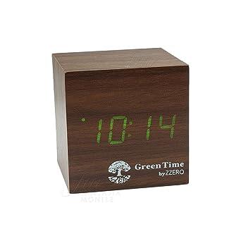 Despertador Green Time Reloj Mesa LED Clock Caoba Wood style ...