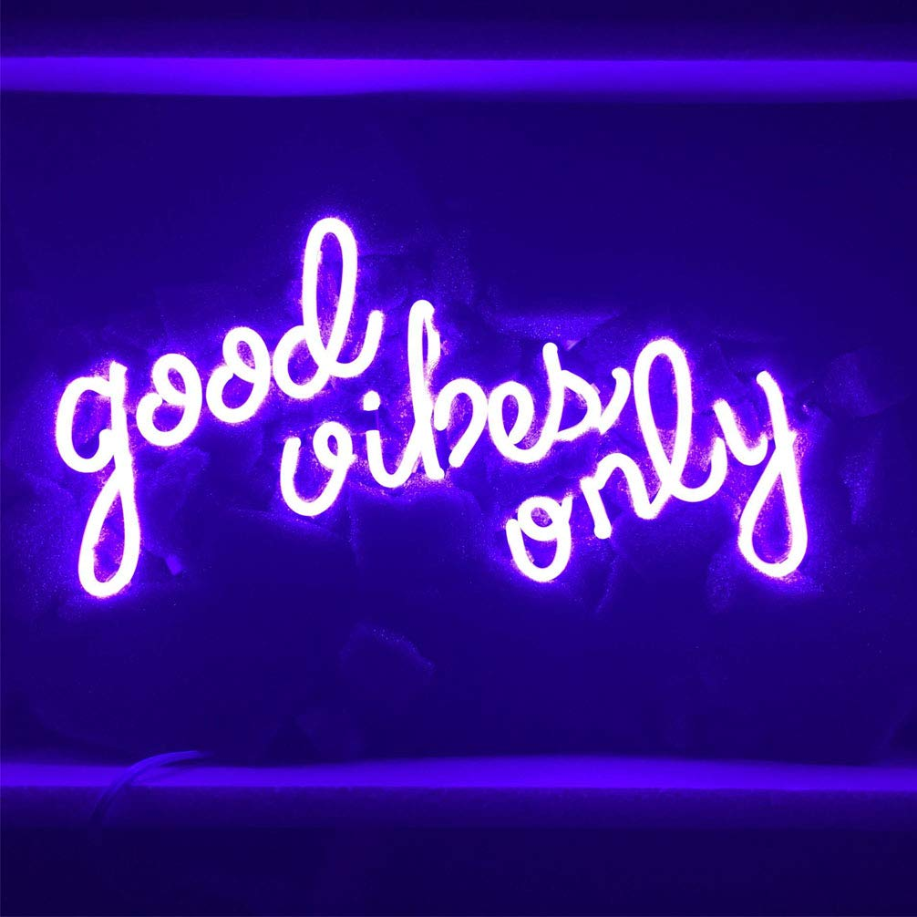 "LiQi Good Vibes ONLY Purple Neon Sign (13"" x7.5"" Large)Real Glass Acrylic Panel Handmade for Home Bedroom Pub Hotel Beach Recreational Game Room Decor"