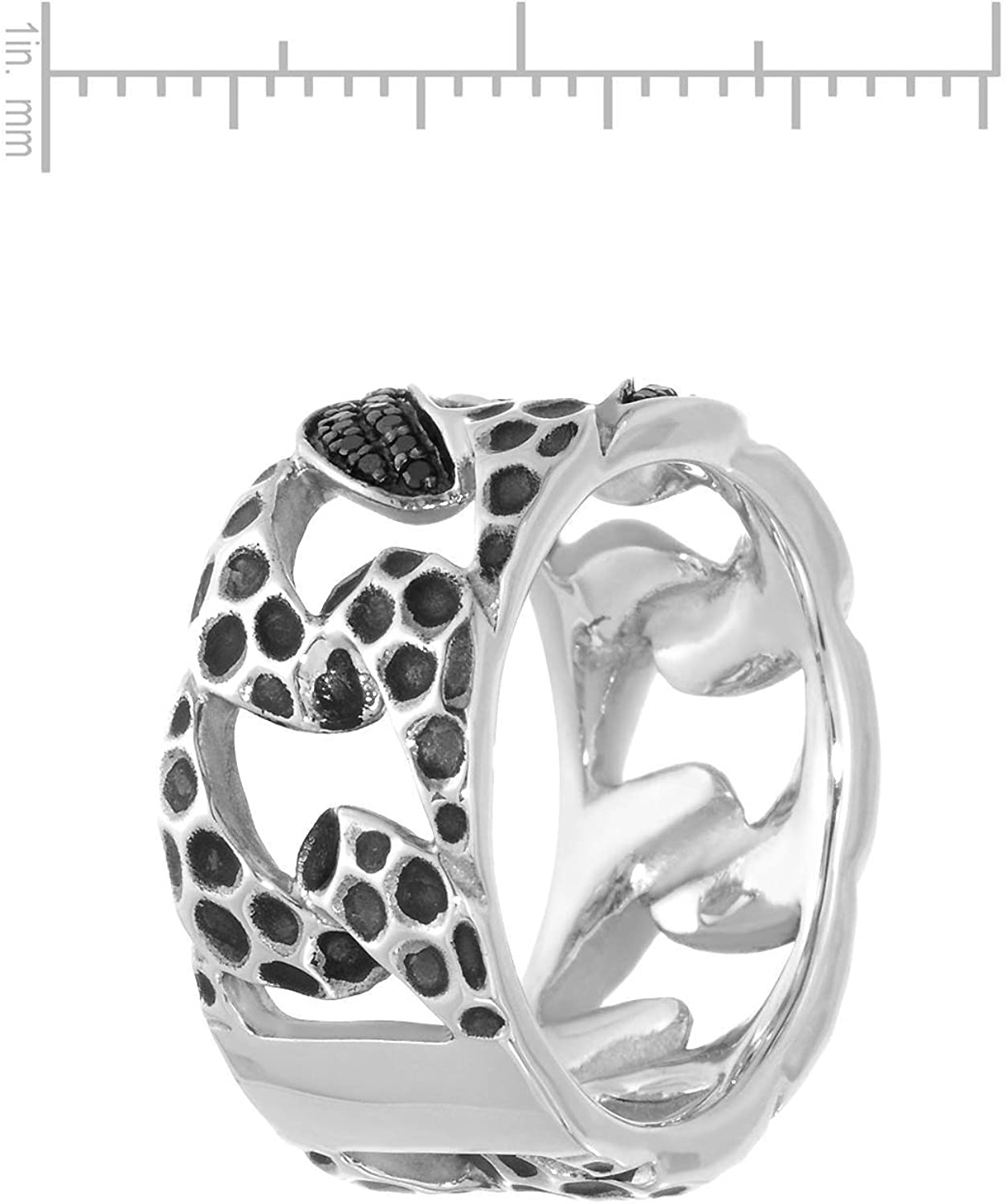 Ring Size 9. Currency Sterling Silver 0.39 CTW Color Black Opaque Diamond Band Ring For Men