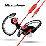 BENWIS Running Earbuds With Mic, Wired Sport Earbuds, Sweatproof Stereo On Ear Sound Noise Cancelling Earphones Headset with Microphone In Ear Hook Gym Jogging for iPhone Samsung LG Android, Black