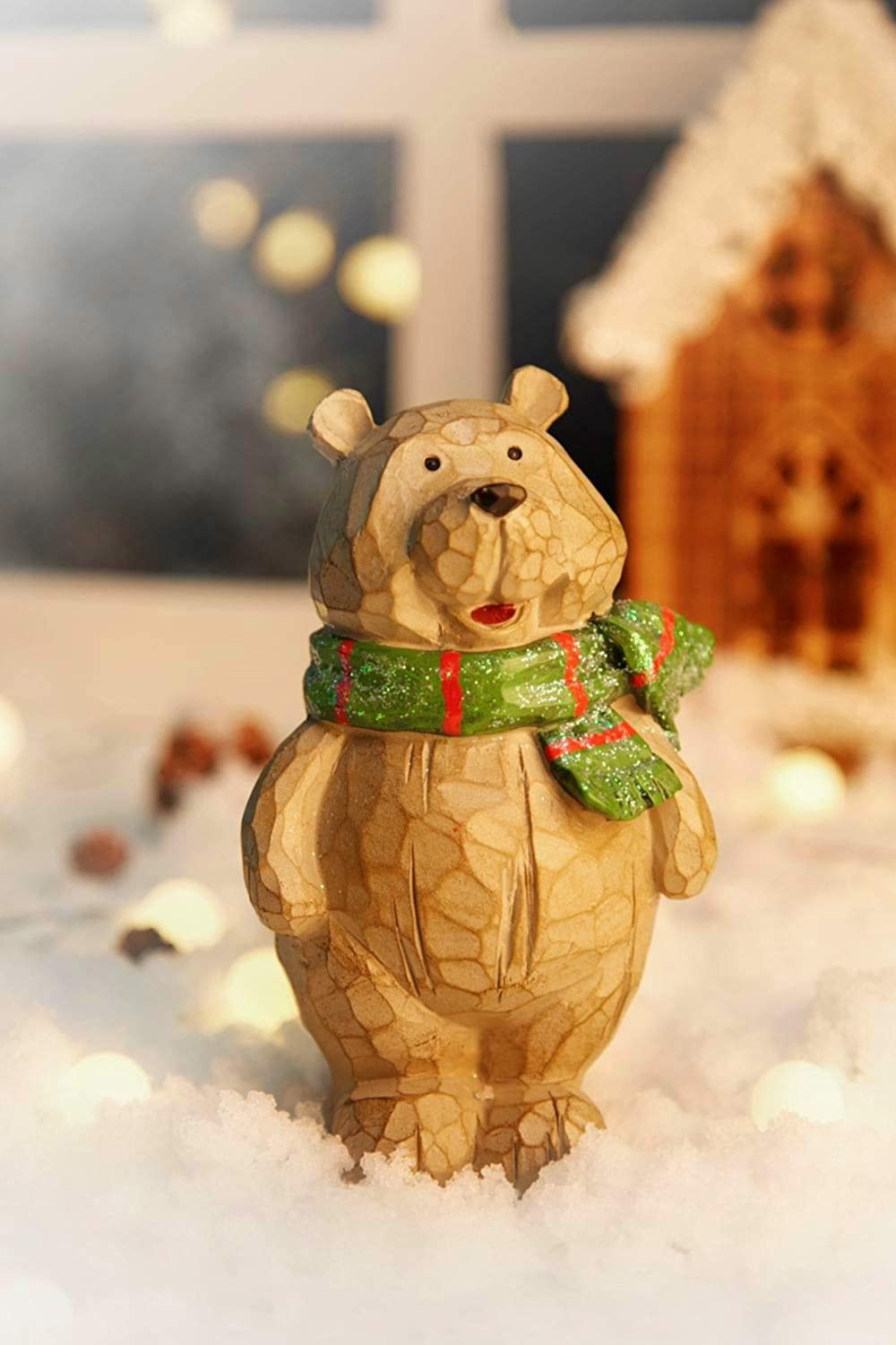 Carved Bear Christmas Decorations for Home, Resin Bear Figurines Decor Used for Holiday Indoor Decorations, Party Tables Decoration, Unique Christmas Home Decorations