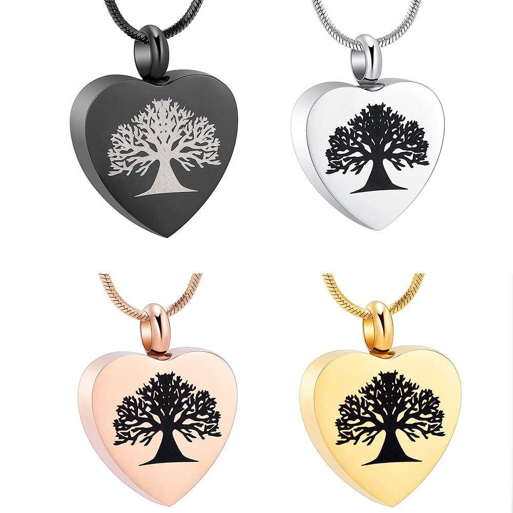 zeqingjw Heart Cremation Jewelry for Ashes Tree of Life Urn Necklace for Ashes Memorial Keepsake Urn Pendants Ashes Jewelry