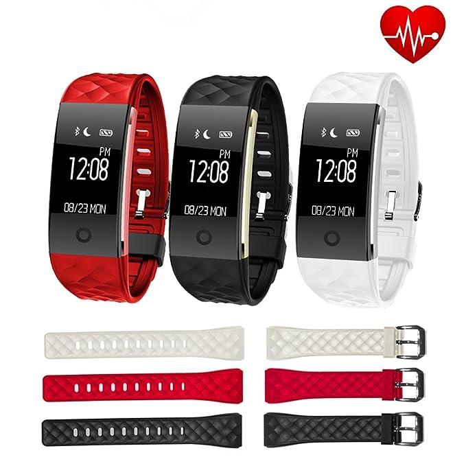 Pulsera inteligente Fancy Cherry® modelo S2; reloj inteligente IP67 impermeable de entrenamiento con monitor smart de seguimiento de ritmo cardíaco, ...
