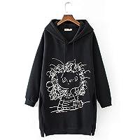 Fashion Women Cartoon Girl Print Long Sleeve Splited Hoodie Sweatshirt Pullover Top Polyester