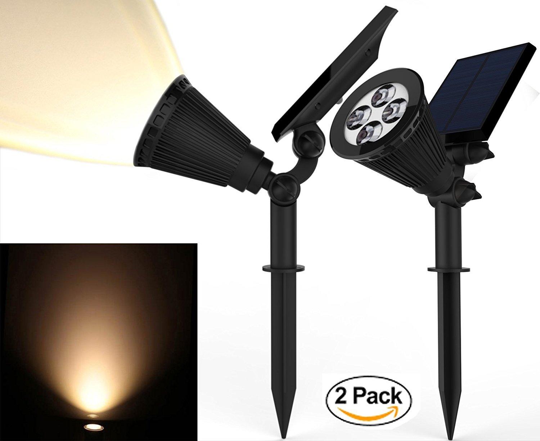 Solar Spotlights, Magictec Warm Light 2-in-1 Adjustable 4 LED Wall / Landscape Solar Lights with Automatic On/Off Sensor, 2 Pack