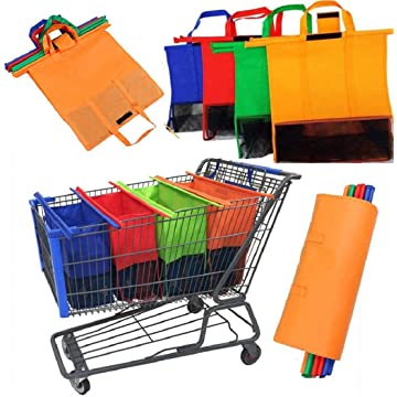 Yuniole Reusable Grocery Bags Shopping Foldable Bags for Groceries Xlarge Bags for Supermarket with Elastic Bags Gift Bags Machine Washable Lightweight Sturdy (Green)