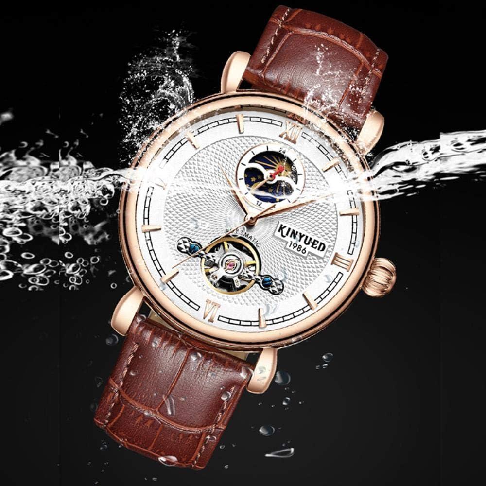 TXGIRWAO Tourbillon Creux Automatique Montres-Bracelets Hommes Squelette Mécanique Ventilateur Mens Montre de Phase de Lune Montres Casual horloges Black