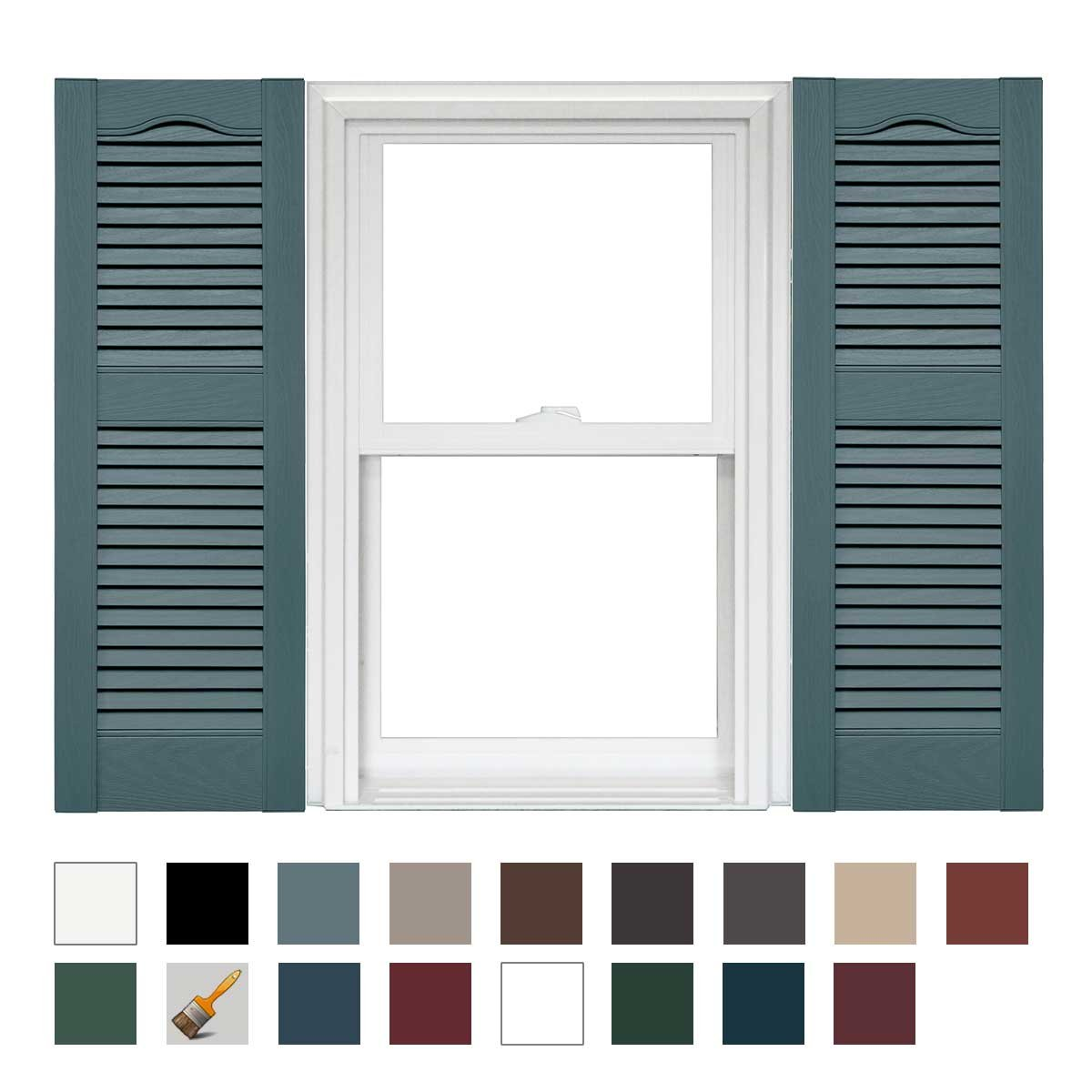 Mid America Cathedral Open Louver Vinyl Standard Shutter 1 Pair 14.5 x 60 009 Federal Brown
