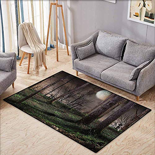 Parking Halloween Horror Nights (Bedroom Floor Rug Gothic Decor Collection Dark Night in The Forest with Full Moon Horror Theme Grunge Style Halloween Photo Brown Green Yellow Easy to Clean Carpet W5'9)