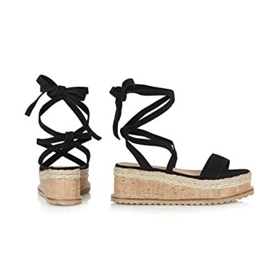 3730f0401560 Ladies Sandals Roman Shoes Peep Toe Lace-Up Solid Woven Thick Wedge Sandals  (US