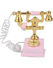 Goodscene Miniature Office Bedroom Accessory 1/12 Doll House Decor Retro Telephone (Pink)