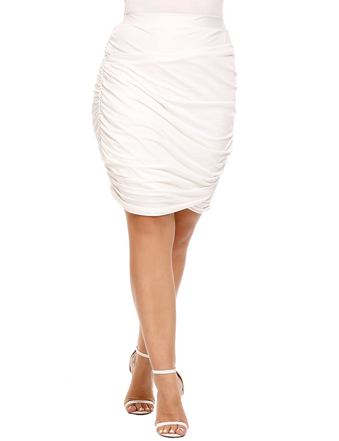 IN'VOLAND Women's Plus Size Wrap Ruched Stretch Pleated Short Skirts Mini Pencil Skirt INH015607