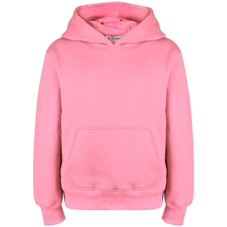A2Z 4 Kids® Kids Girls Boys Sweatshirt Tops Designer's Casual Plain Baby Pink Pullover Sweatshirt Fleece Hooded Jumper Coats New Age 2 3 4 5 6 7 8 9 10 11 12 13 Years