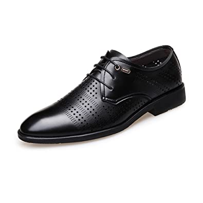 Ruanyi Formale Geschäfts-Schuhe der Männer glätten PU-Leder-u. Segeltuch-Spleiß-Oberleder-Spitze Oben Breathable gefütterte Oxfords (Farbe : Black, Size : 38 EU)