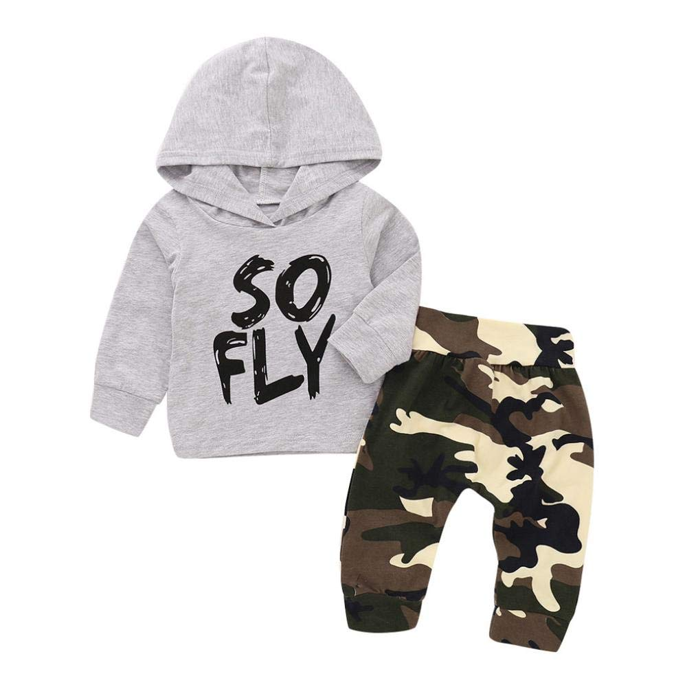 Infant Boy Autumn Camouflage Sets,Jchen(TM) Newborn Infant Baby Boy Letter Hooded Tops+Camouflage Pants Clothes Outfits for 0-24 Months (Age: 3-6 Months)