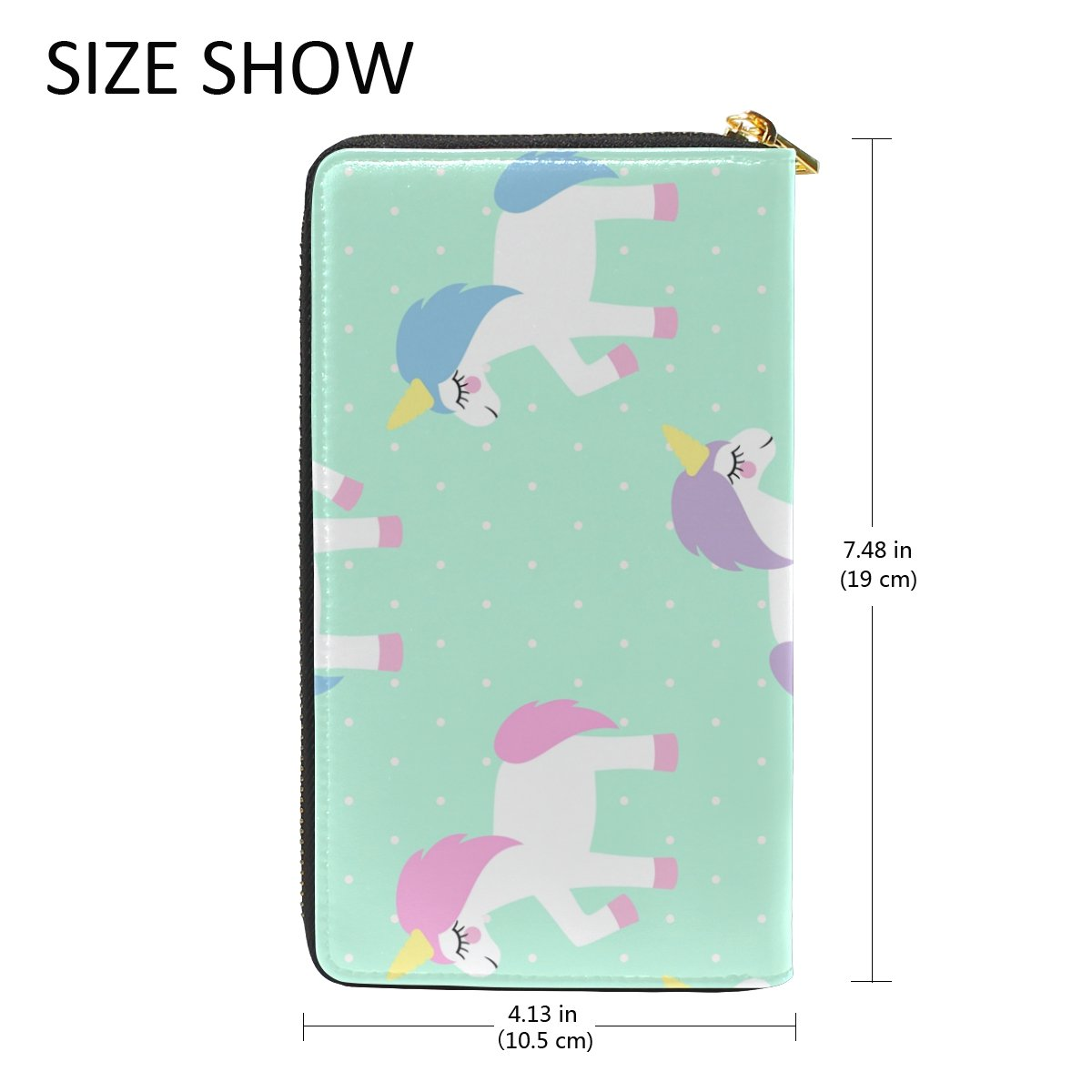 MAPOLO Cute Cartoon Unicorn Mint Green Polka Dots Print Womens Clutch Purses Organizer And Handbags Zip Around Wallet