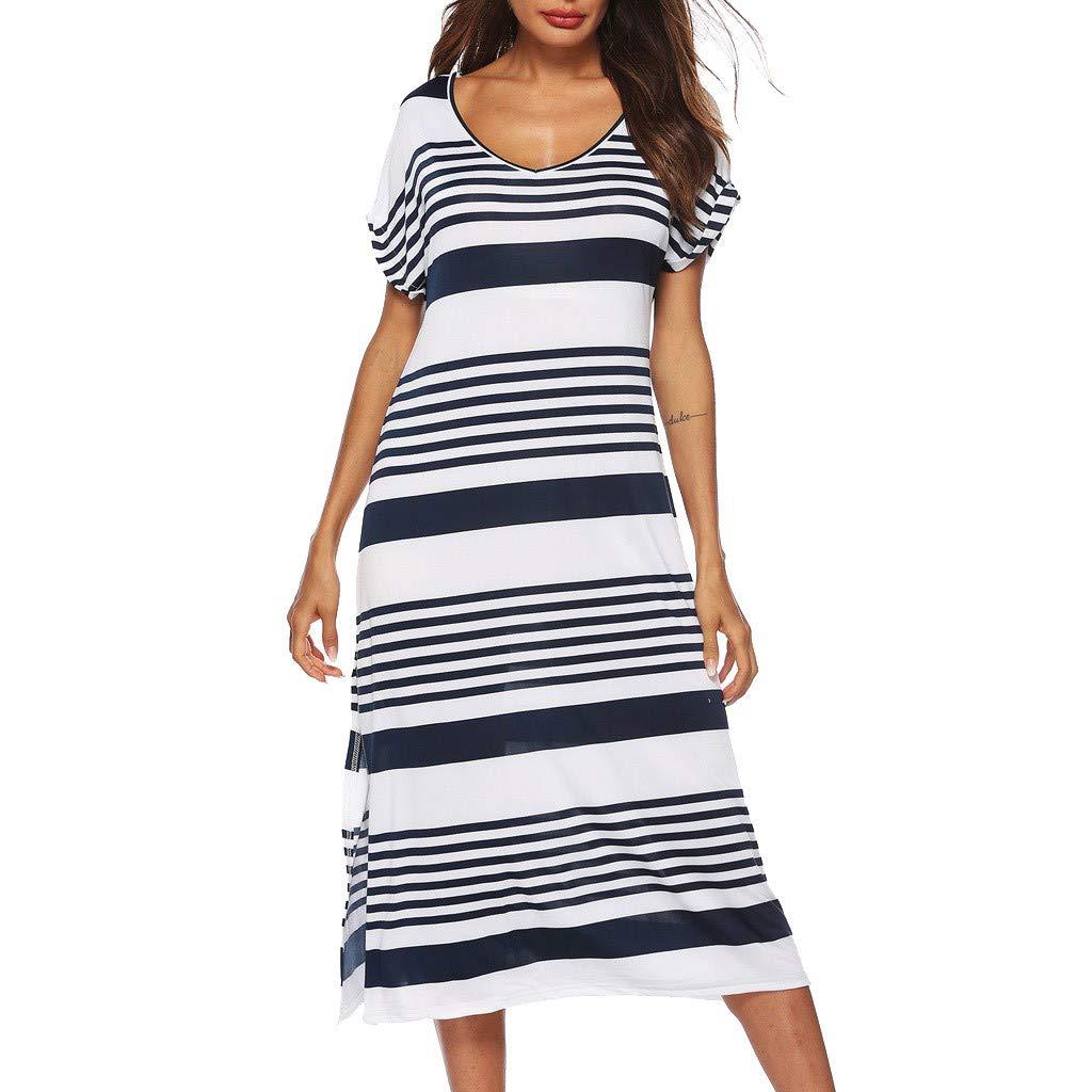 Womens Casual V Neck Short Sleeve Striped Knee Length Dress Party Dress White