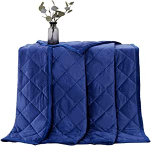 "Manlinar Soft Plush Weighted Blanket 15lbs, Warm Minky Weighted Blankets for Adults, Diamond Quilted Fleece Weighted Throw, Fuzzy weighted Blanket (48""x72"") for Twin/Full Size Bed and Couch, Navy Blue"