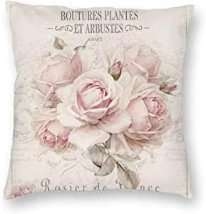 antcreptson French Shabby Chic Square Decorative Throw Pillow Case Cushion Cover, Shabby Chic Pink Rose Floral,Soft Pillowcase 18x18 inch