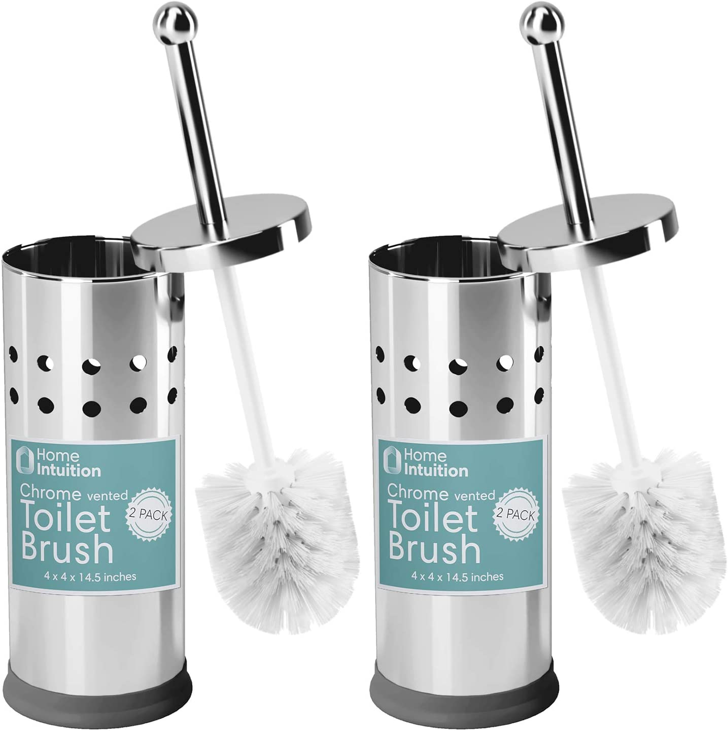 Home Intuition Polished Chrome Stainless Steel Vented Toilet Brush and Holder (2)