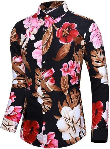 Camisa de Manga Larga con Estampado de Flores para Hombre, con Botones Negro Negro (4XL: Amazon.es: Ropa y accesorios