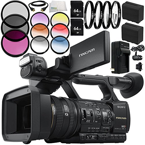 Sony HXR-NX5R NXCAM Professional Camcorder 12PC Accessory Bundle - Includes Includes 2x 64GB SD Memory Cards + 2 Replacement Batteries + MORE by SSE