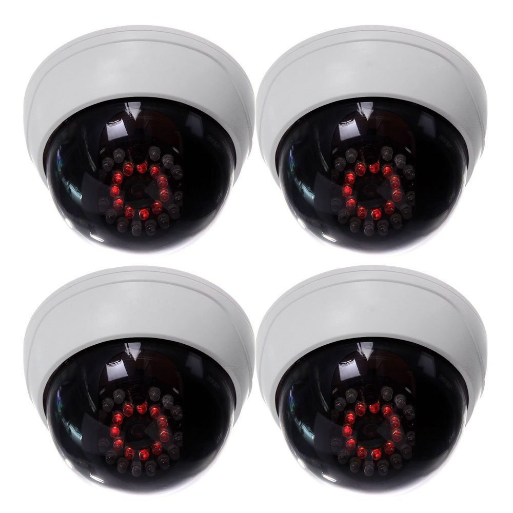 SODIAL(R) 4イン1インドアCCTVの偽のダミードームセキュリティカメラ IR LED付き 白 B01FSDLIKY  4パック