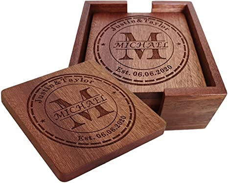 Personalized Coasters Custom Engraved Wood Coasters For Drinks Monogram Coasters With Holder Wedding Gifts Parents Gifts M Kitchen Dining