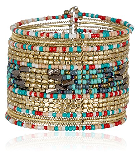 SPUNKYsoul Cuff Bracelets for Women Collection (Red/Teal/Gold) (Glass Bead Cuff)