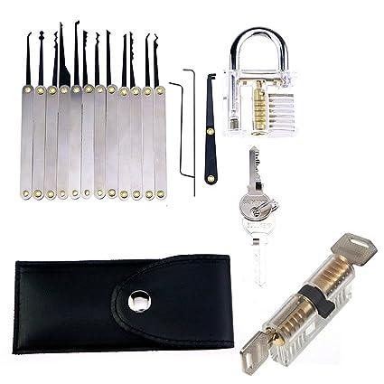 RowShan Juego de 15 Ganzúas cerradura Herramienta de extracción de llaves / Lock Pick con 2