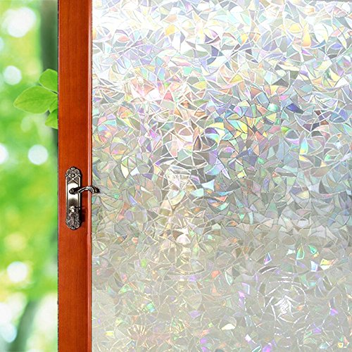 3D Illuminative Window Film [Transparent No Glue Sticker] Reflective Decor Glass Door Film/Heat Control/Anti UV/Privacy Protection, Stained Glass Static Cling for Kitchen/Bedroom, 35.5x78.7 inch by Wayber