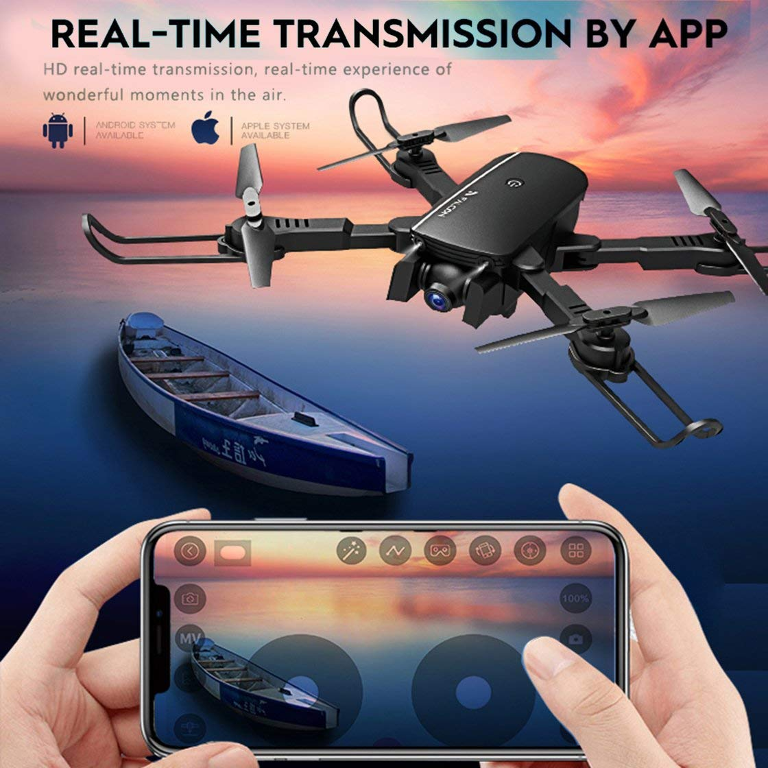 Gwendoll 1808 WiFi FPV RC Drone Cámara 4K Posicionamiento de Flujo ...